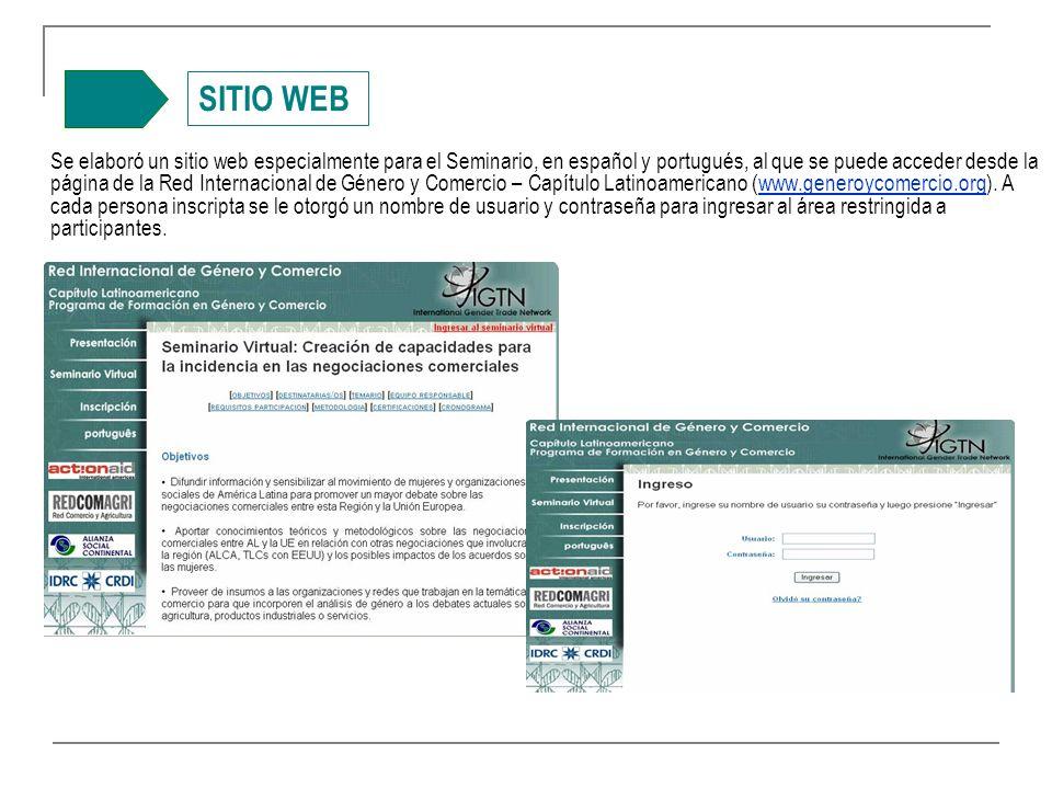 SITIO WEB Se elaboró un sitio web especialmente para el Seminario, en español y portugués, al que se puede acceder desde la página de la Red Internacional de Género y Comercio – Capítulo Latinoamericano (www.generoycomercio.org).