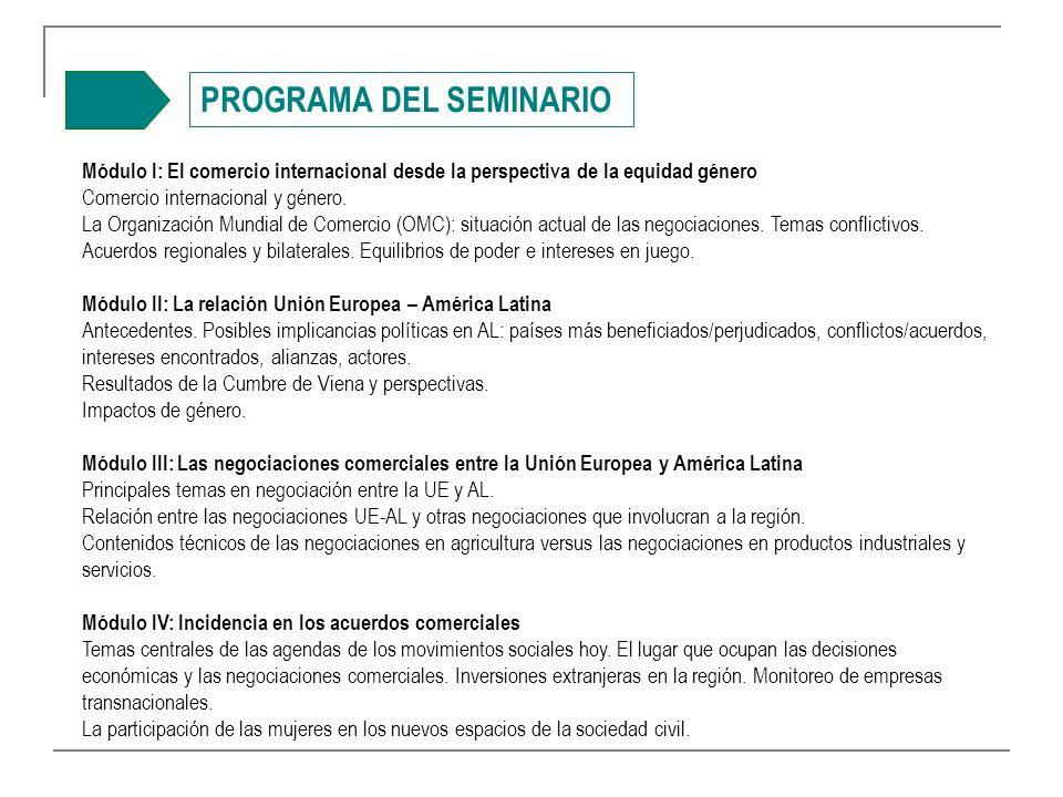 PROGRAMA DEL SEMINARIO Módulo I: El comercio internacional desde la perspectiva de la equidad género Comercio internacional y género.