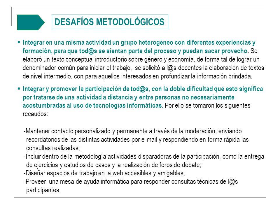 DESAFÍOS METODOLÓGICOS Integrar en una misma actividad un grupo heterogéneo con diferentes experiencias y formación, para que tod@s se sientan parte del proceso y puedan sacar provecho.