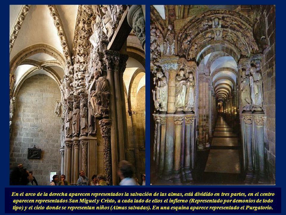 En el arco de la izquierda aparecen representadas escenas del Antiguo Testamento. Los Apóstoles (Cada uno llevando su elemento; San Pedro, las llaves.
