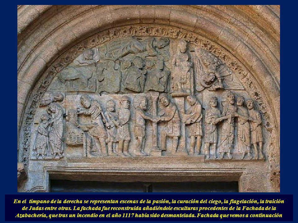 En el friso del centro: El Salvador, Abraham y escenas varias. Jamba izquierda: Se vé a David tocando una vihuela en lugar del arpa.