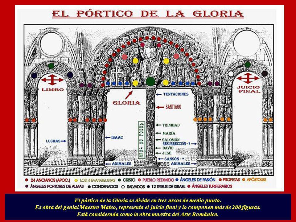 El pórtico de la Gloria se divide en tres arcos de medio punto.