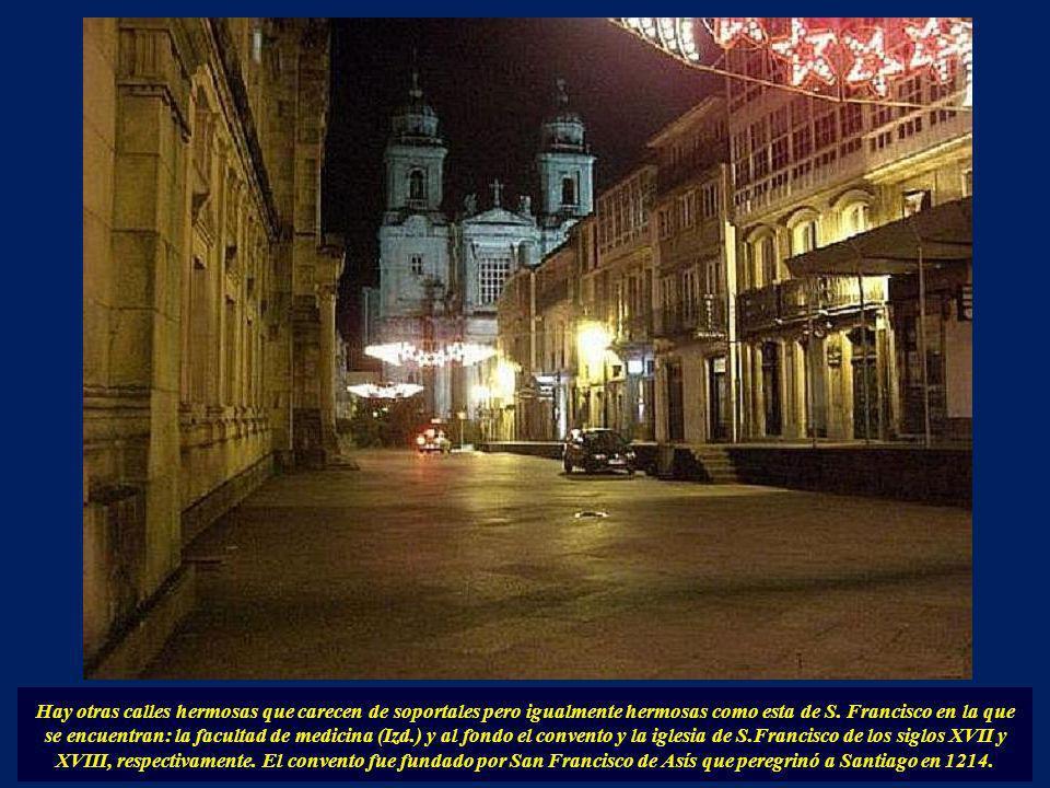 Calle del Franco al atardecer y al anochecer. En la imagen de la derecha el edificio en donde la Telefónica tenía el locutorio y que era muy concurrid