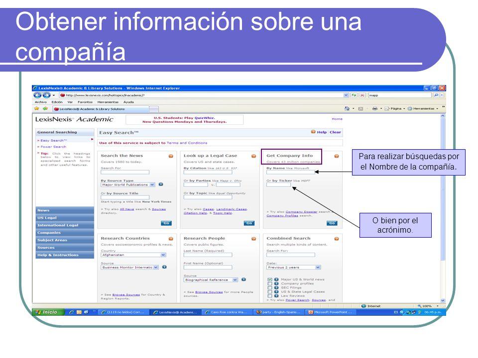Búsqueda por País Esta opción permite encontrar información política y económica sobre una país en específico.