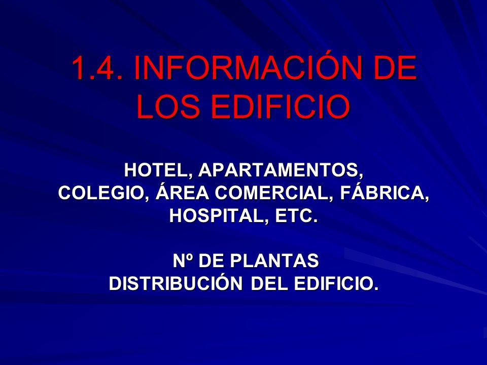 1.4. INFORMACIÓN DE LOS EDIFICIO HOTEL, APARTAMENTOS, COLEGIO, ÁREA COMERCIAL, FÁBRICA, HOSPITAL, ETC. Nº DE PLANTAS DISTRIBUCIÓN DEL EDIFICIO.