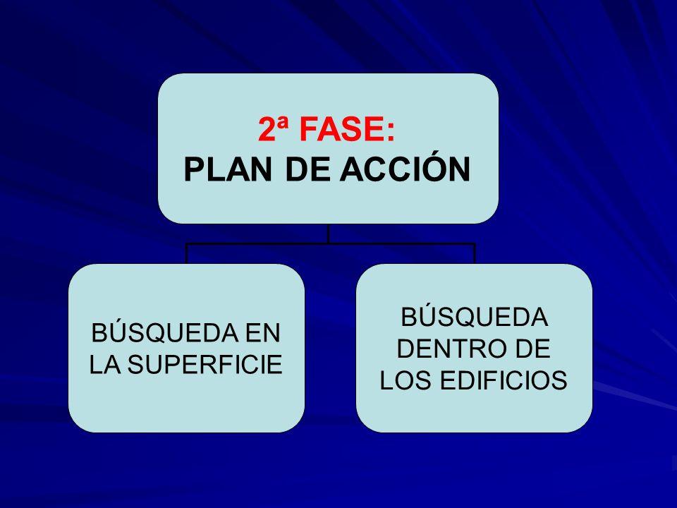 2ª FASE: PLAN DE ACCIÓN BÚSQUEDA EN LA SUPERFICIE BÚSQUEDA DENTRO DE LOS EDIFICIOS