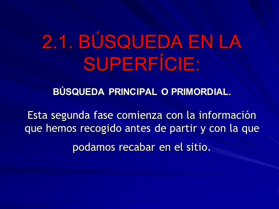 2.1. BÚSQUEDA EN LA SUPERFÍCIE: BÚSQUEDA PRINCIPAL O PRIMORDIAL. Esta segunda fase comienza con la información que hemos recogido antes de partir y co