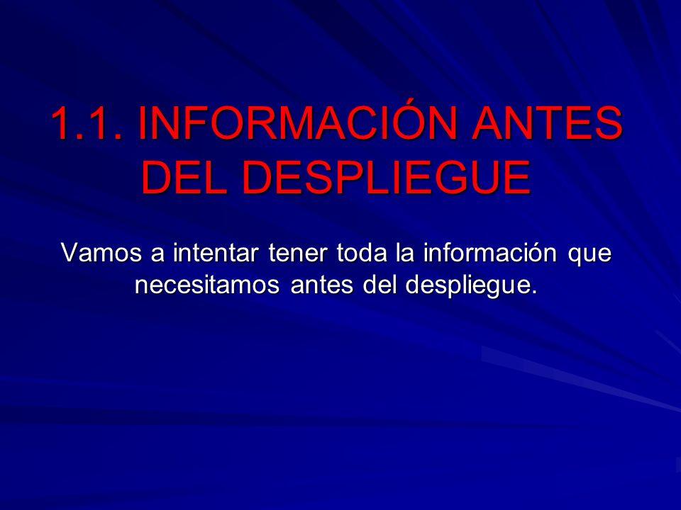 1.1. INFORMACIÓN ANTES DEL DESPLIEGUE Vamos a intentar tener toda la información que necesitamos antes del despliegue.