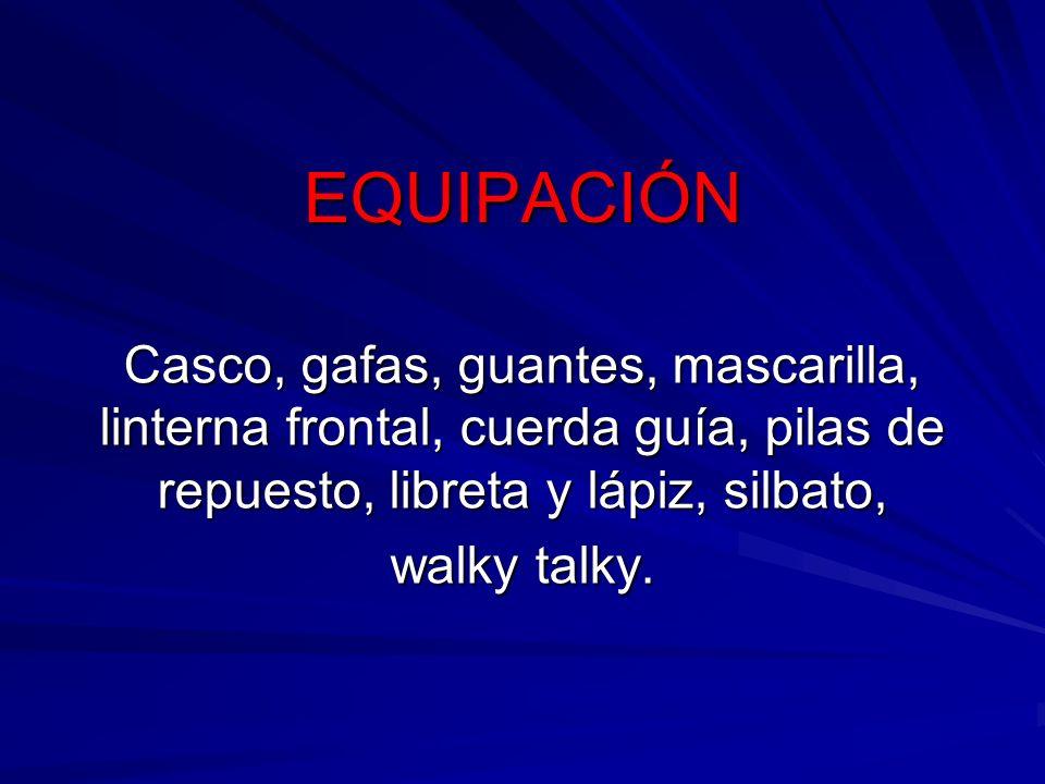 EQUIPACIÓN Casco, gafas, guantes, mascarilla, linterna frontal, cuerda guía, pilas de repuesto, libreta y lápiz, silbato, walky talky.
