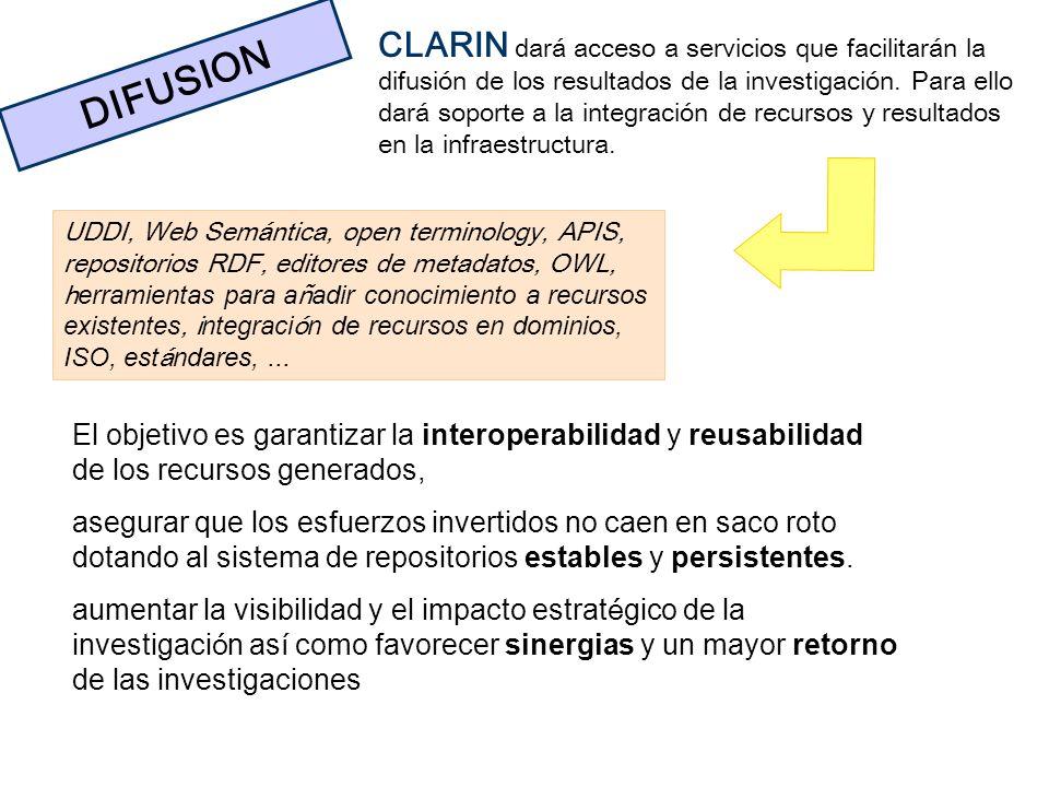 DIFUSION CLARIN dará acceso a servicios que facilitarán la difusión de los resultados de la investigación. Para ello dará soporte a la integración de