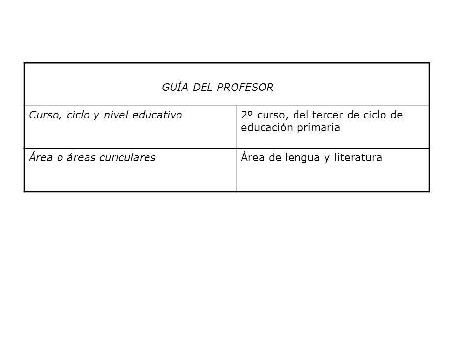 GUÍA DEL PROFESOR Curso, ciclo y nivel educativo2º curso, del tercer de ciclo de educación primaria Área o áreas curicularesÁrea de lengua y literatur