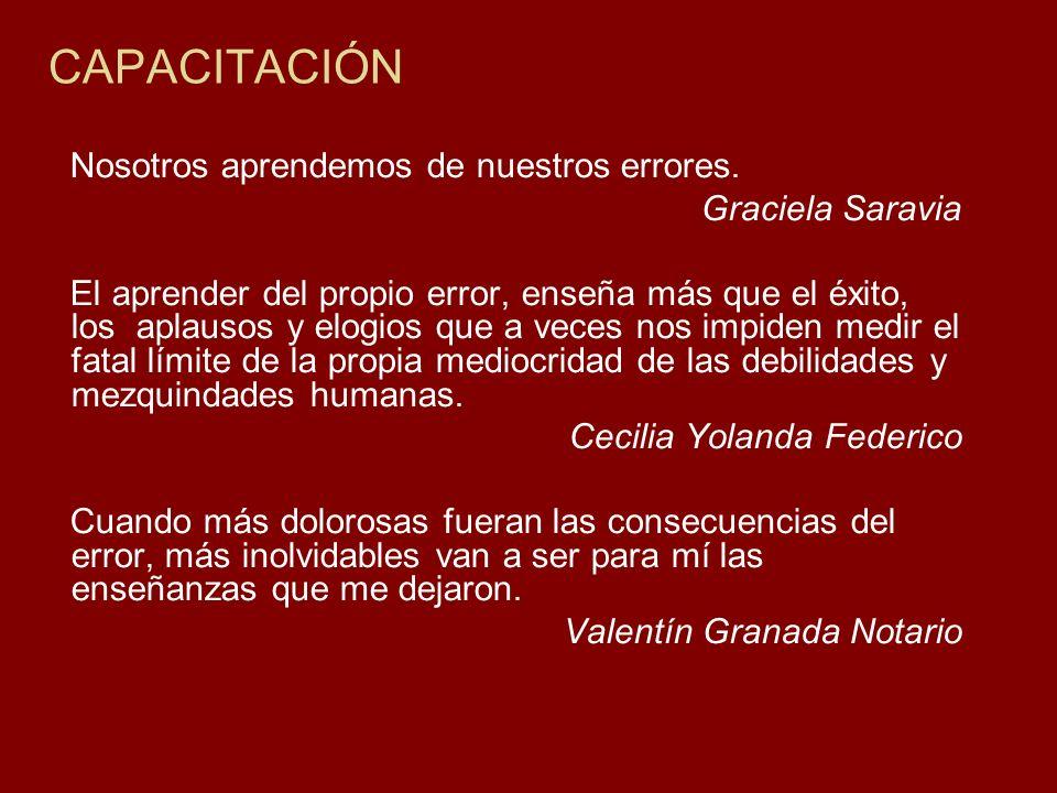 CAPACITACIÓN Nosotros aprendemos de nuestros errores. Graciela Saravia El aprender del propio error, enseña más que el éxito, los aplausos y elogios q
