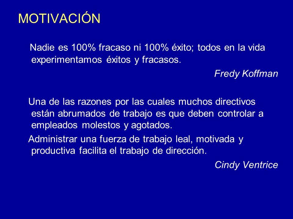 MOTIVACIÓN Nadie es 100% fracaso ni 100% éxito; todos en la vida experimentamos éxitos y fracasos. Fredy Koffman Una de las razones por las cuales muc