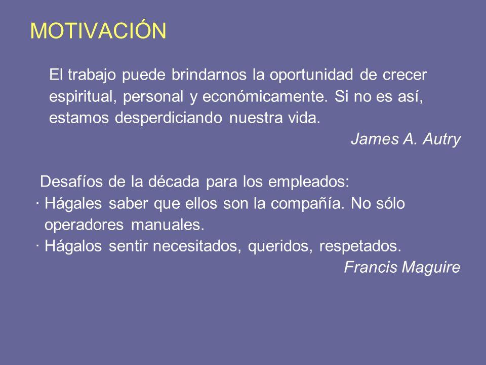 MOTIVACIÓN El trabajo puede brindarnos la oportunidad de crecer espiritual, personal y económicamente. Si no es así, estamos desperdiciando nuestra vi