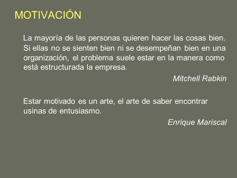 MOTIVACIÓN La mayoría de las personas quieren hacer las cosas bien. Si ellas no se sienten bien ni se desempeñan bien en una organización, el problema