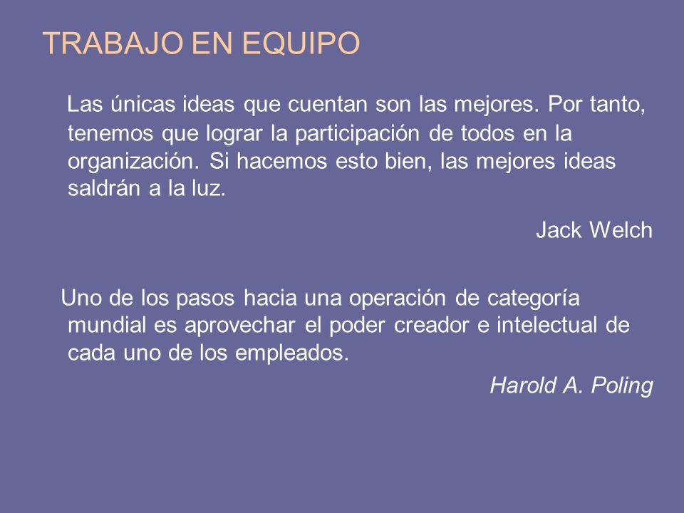 TRABAJO EN EQUIPO Las únicas ideas que cuentan son las mejores. Por tanto, tenemos que lograr la participación de todos en la organización. Si hacemos