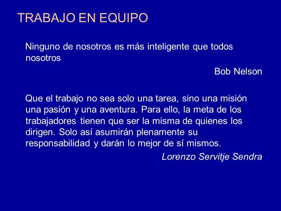 TRABAJO EN EQUIPO Ninguno de nosotros es más inteligente que todos nosotros Bob Nelson Que el trabajo no sea solo una tarea, sino una misión una pasió