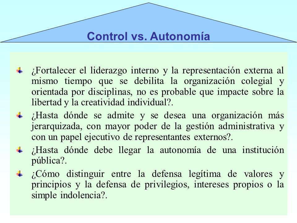 ¿Fortalecer el liderazgo interno y la representación externa al mismo tiempo que se debilita la organización colegial y orientada por disciplinas, no
