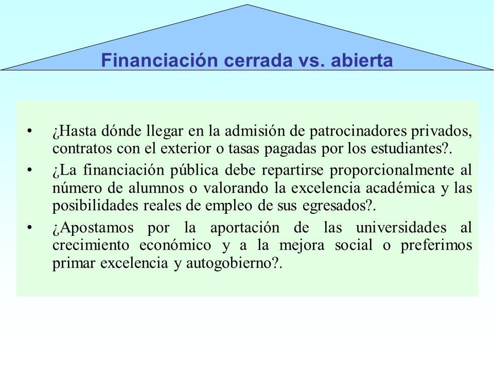 ¿Hasta dónde llegar en la admisión de patrocinadores privados, contratos con el exterior o tasas pagadas por los estudiantes?. ¿La financiación públic
