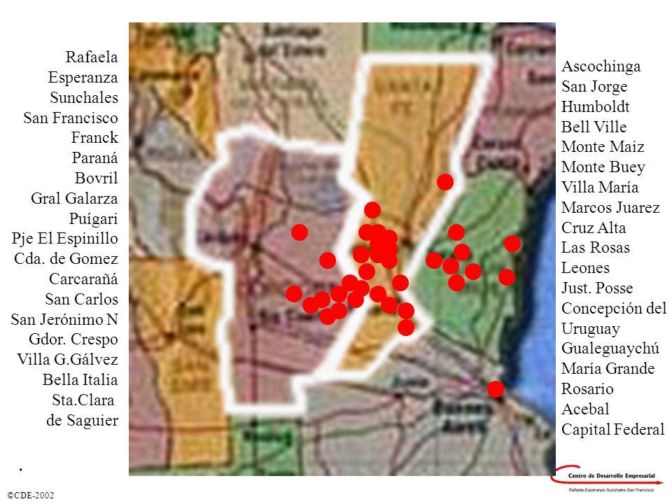 ©CDE-2002 Regionalización Ciudades donde se prestaron Servicios Rafaela Esperanza Sunchales San Francisco Franck Paraná Bovril Gral Galarza Puígari Pj