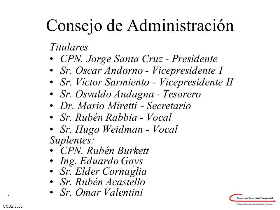 ©CDE-2002 Consejo de Administración Titulares CPN. Jorge Santa Cruz - Presidente Sr. Oscar Andorno - Vicepresidente I Sr. Víctor Sarmiento - Vicepresi