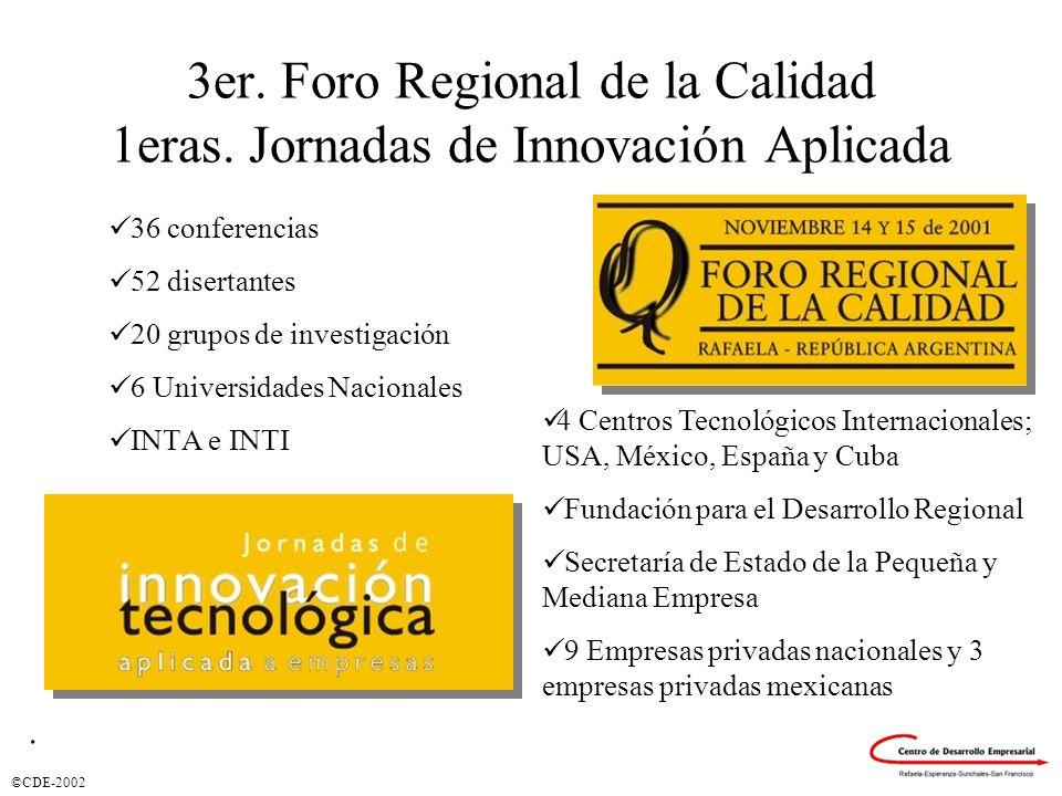 ©CDE-2002 3er. Foro Regional de la Calidad 1eras. Jornadas de Innovación Aplicada 36 conferencias 52 disertantes 20 grupos de investigación 6 Universi