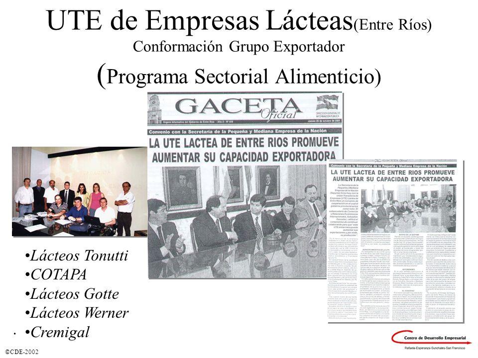 ©CDE-2002 UTE de Empresas Lácteas (Entre Ríos) Conformación Grupo Exportador ( Programa Sectorial Alimenticio) Lácteos Tonutti COTAPA Lácteos Gotte Lácteos Werner Cremigal.