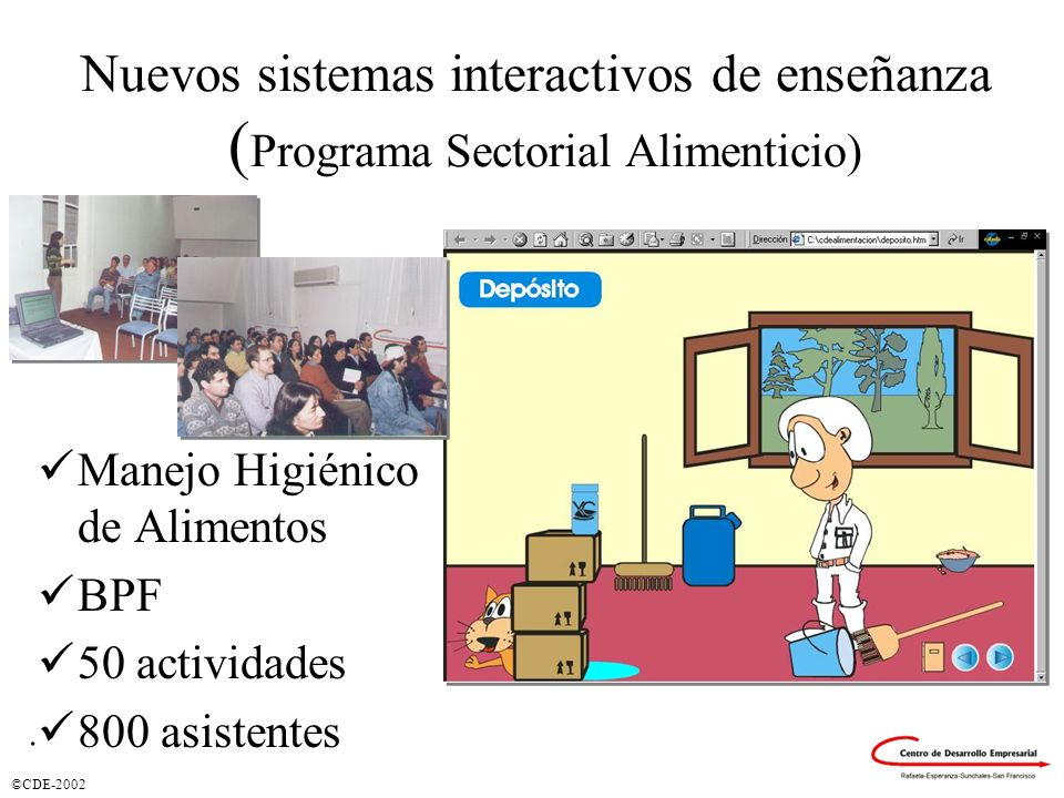 ©CDE-2002 Nuevos sistemas interactivos de enseñanza ( Programa Sectorial Alimenticio) Manejo Higiénico de Alimentos BPF 50 actividades 800 asistentes.