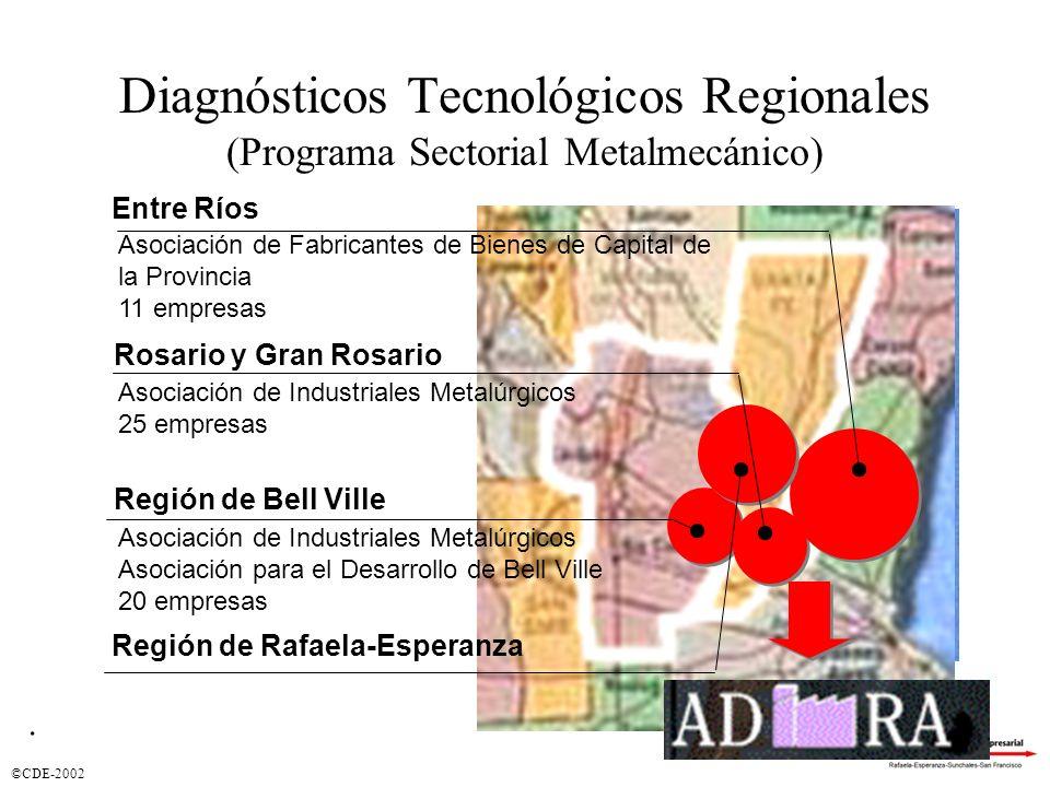 ©CDE-2002 Diagnósticos Tecnológicos Regionales (Programa Sectorial Metalmecánico) Entre Ríos Rosario y Gran Rosario Región de Bell Ville Asociación de