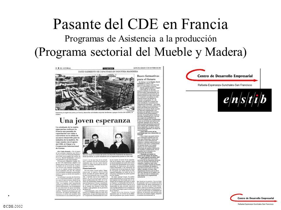 ©CDE-2002 Pasante del CDE en Francia Programas de Asistencia a la producción (Programa sectorial del Mueble y Madera).