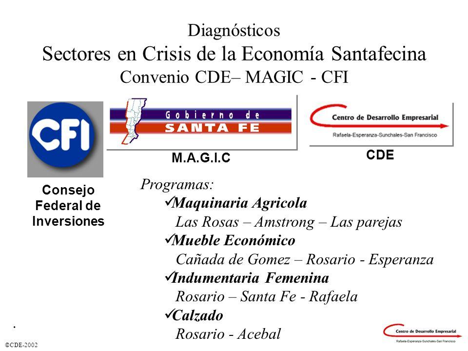 ©CDE-2002 Diagnósticos Sectores en Crisis de la Economía Santafecina Convenio CDE– MAGIC - CFI Consejo Federal de Inversiones CDE M.A.G.I.C Programas: