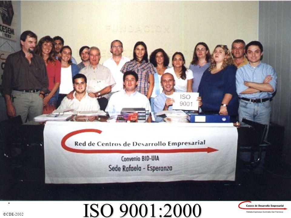 ©CDE-2002 Certificación ISO 9001:2000 ISO 9001:2000.
