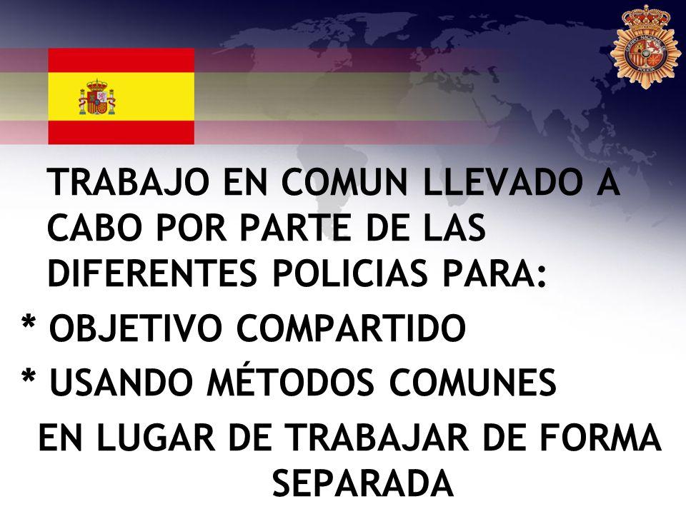 TRABAJO EN COMUN LLEVADO A CABO POR PARTE DE LAS DIFERENTES POLICIAS PARA: * OBJETIVO COMPARTIDO * USANDO MÉTODOS COMUNES EN LUGAR DE TRABAJAR DE FORM
