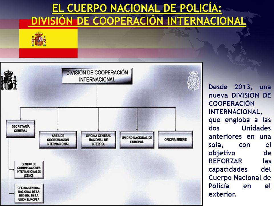 EL CUERPO NACIONAL DE POLICÍA: DIVISIÓN DE COOPERACIÓN INTERNACIONAL Desde 2013, una nueva DIVISIÓN DE COOPERACIÓN INTERNACIONAL, que engloba a las do