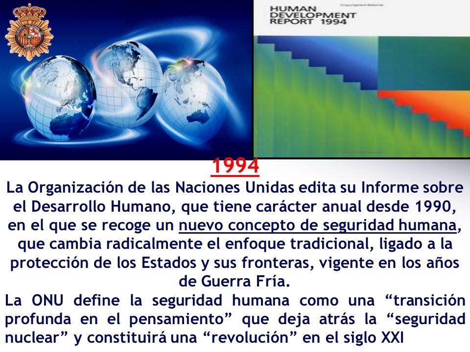 1994 La Organización de las Naciones Unidas edita su Informe sobre el Desarrollo Humano, que tiene carácter anual desde 1990, en el que se recoge un n