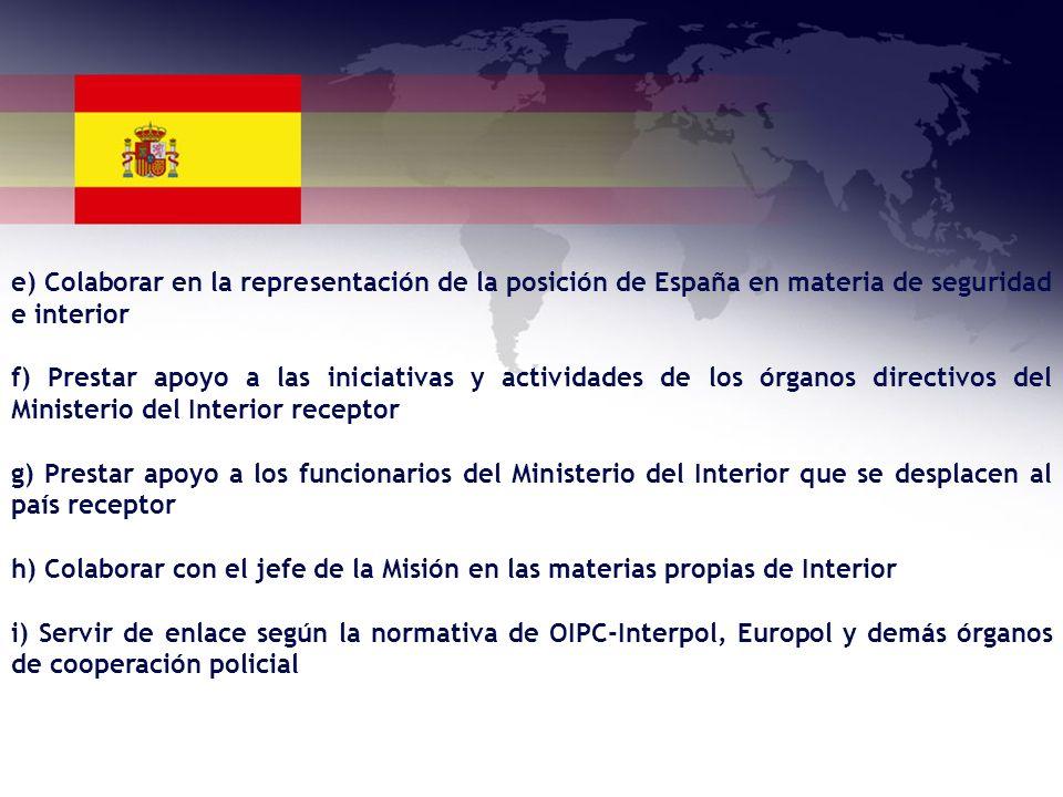 e) Colaborar en la representación de la posición de España en materia de seguridad e interior f) Prestar apoyo a las iniciativas y actividades de los