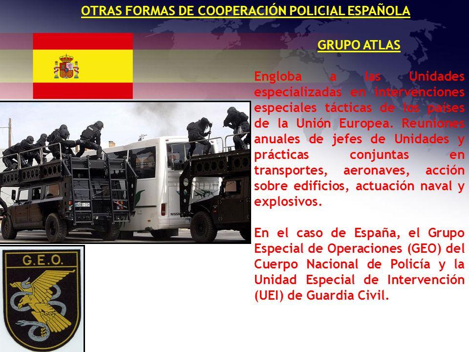 OTRAS FORMAS DE COOPERACIÓN POLICIAL ESPAÑOLA GRUPO ATLAS Engloba a las Unidades especializadas en intervenciones especiales tácticas de los países de