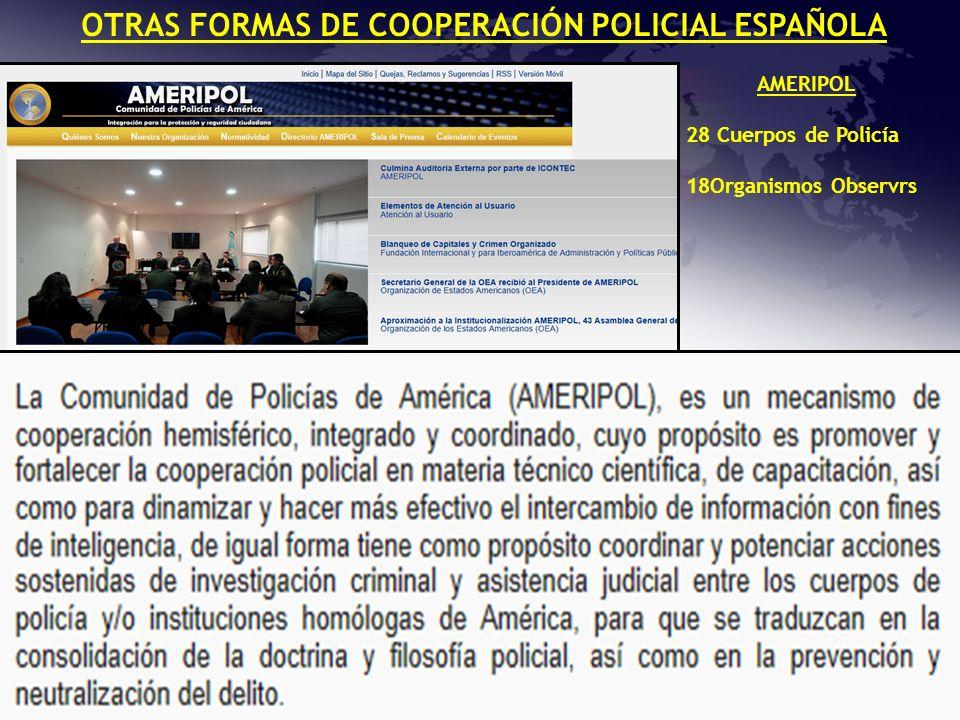 OTRAS FORMAS DE COOPERACIÓN POLICIAL ESPAÑOLA AMERIPOL 28 Cuerpos de Policía 18Organismos Observrs