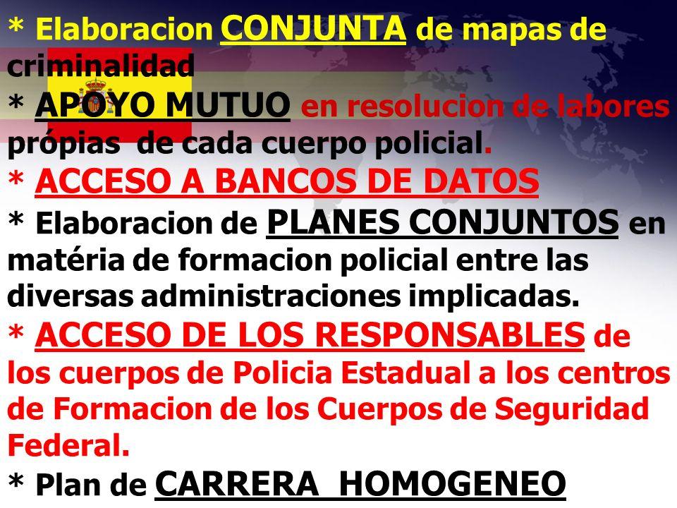 * Elaboracion CONJUNTA de mapas de criminalidad * APOYO MUTUO en resolucion de labores própias de cada cuerpo policial. * ACCESO A BANCOS DE DATOS * E