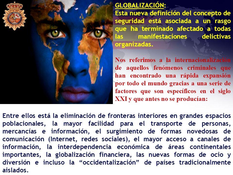 GLOBALIZACIÓN: Esta nueva definición del concepto de seguridad está asociada a un rasgo que ha terminado afectado a todas las manifestaciones delictiv