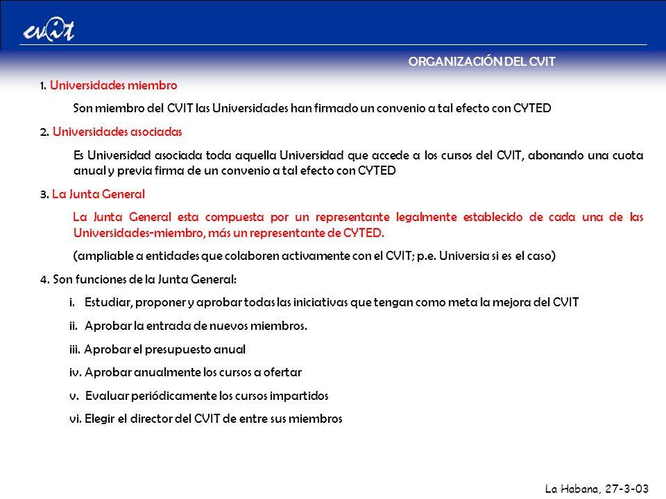La Habana, 27-3-03 ORGANIZACIÓN DEL CVIT 1.