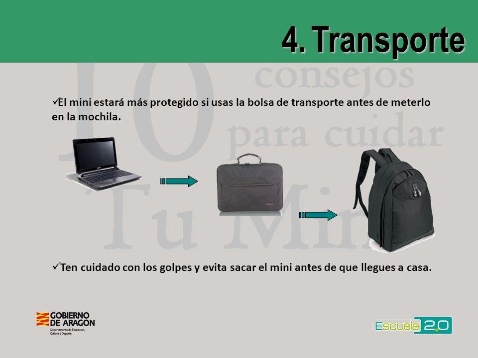 4. Transporte El mini estará más protegido si usas la bolsa de transporte antes de meterlo en la mochila. Ten cuidado con los golpes y evita sacar el