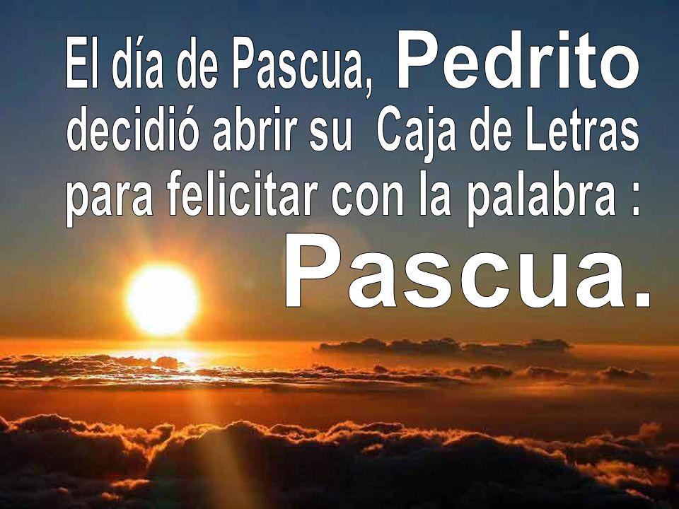 Pedrito se despidió del Abuelo y volvió a casa pensando que si no encontraba la P no podría escribir: Pascua, Palabra, Paz, Padre, Perdón, Pan, Padrino, País,,Pájaro, Paisaje, Palacio,Pez, Policía, Papel,Precio…