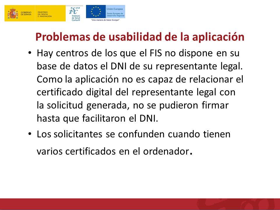 Problemas de usabilidad de la aplicación Hay centros de los que el FIS no dispone en su base de datos el DNI de su representante legal.