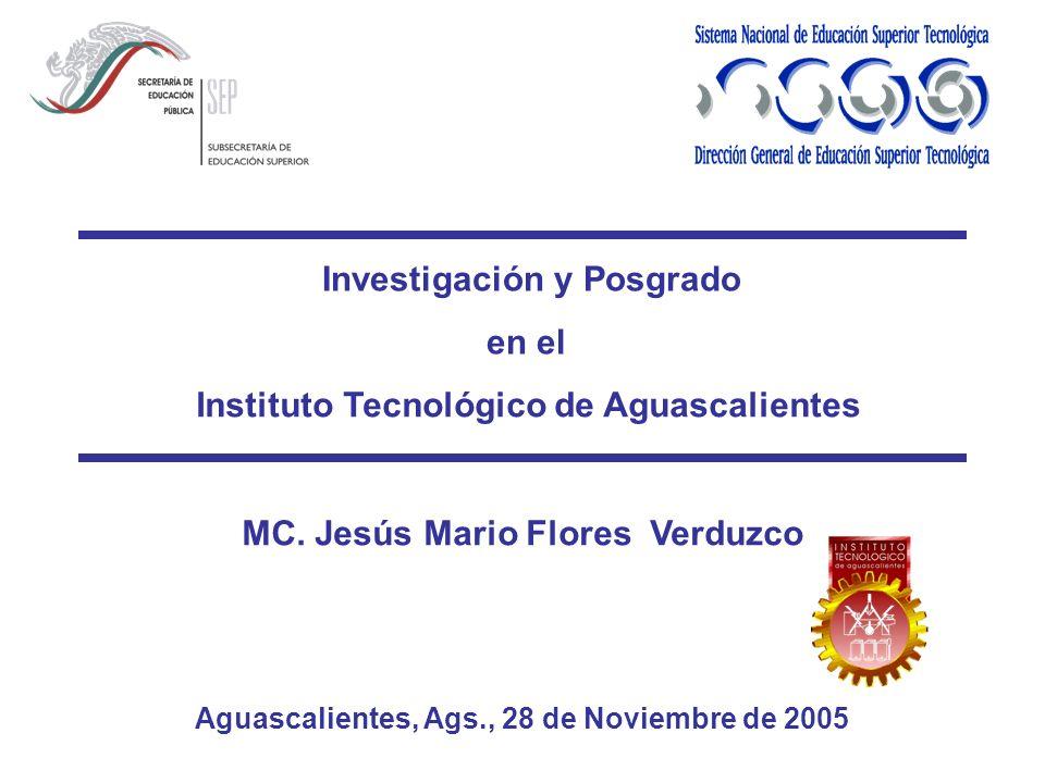 Instituto Tecnológico de Aguascalientes MC. Jesús Mario Flores Verduzco Aguascalientes, Ags., 28 de Noviembre de 2005 Investigación y Posgrado en el