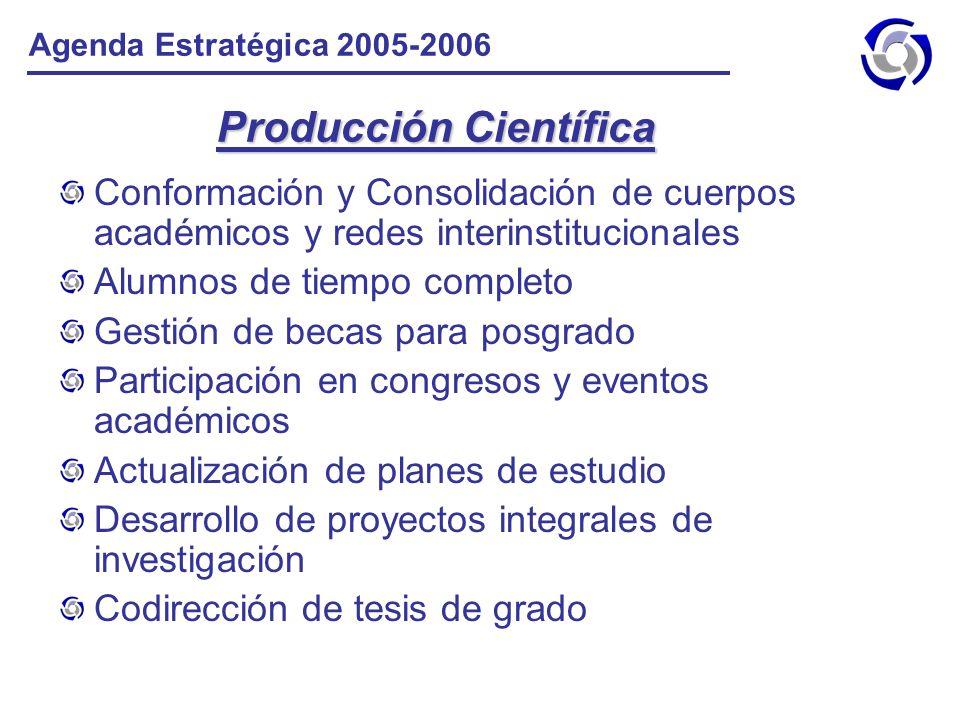 Producción Científica Conformación y Consolidación de cuerpos académicos y redes interinstitucionales Alumnos de tiempo completo Gestión de becas para