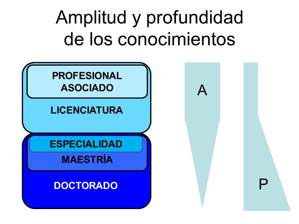 Amplitud y profundidad de los conocimientos LICENCIATURA PROFESIONAL ASOCIADO MAESTRÍA ESPECIALIDAD DOCTORADO A P