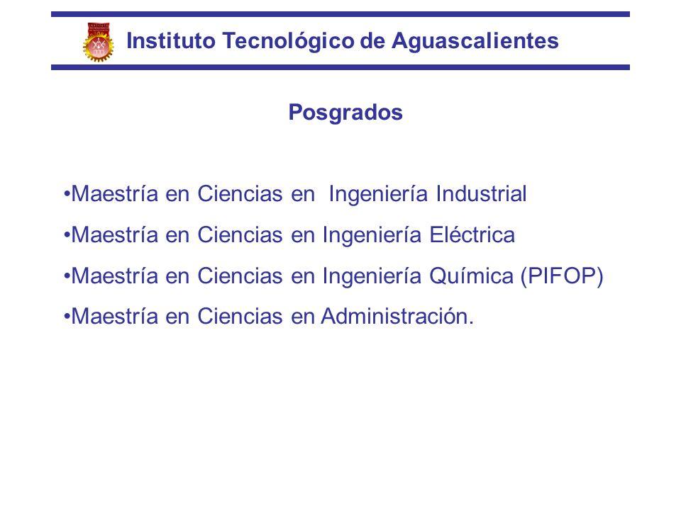 Instituto Tecnológico de Aguascalientes Posgrados Maestría en Ciencias en Ingeniería Industrial Maestría en Ciencias en Ingeniería Eléctrica Maestría