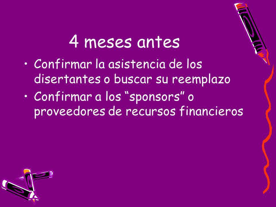 4 meses antes Confirmar la asistencia de los disertantes o buscar su reemplazo Confirmar a los sponsors o proveedores de recursos financieros