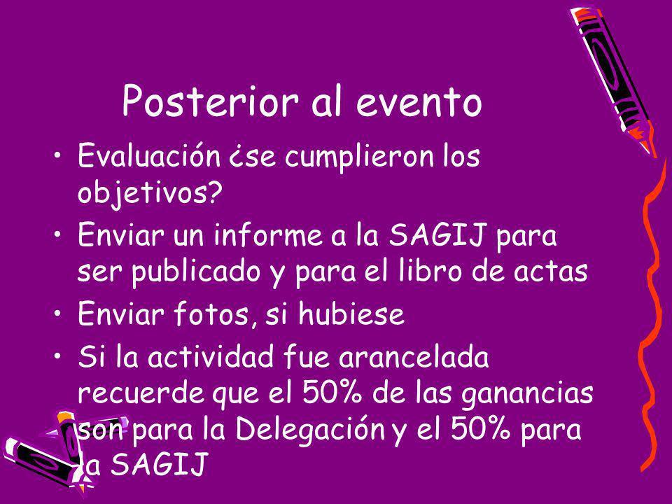 Posterior al evento Evaluación ¿se cumplieron los objetivos.